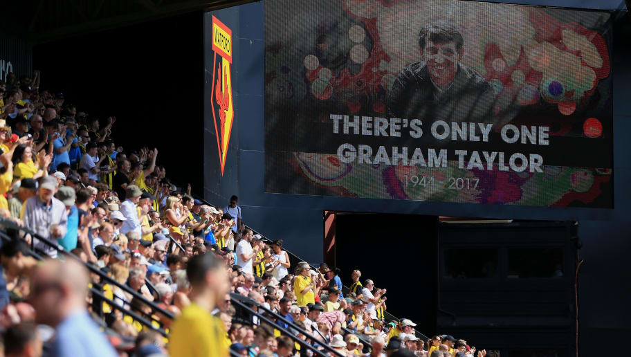 WATFORD, ENGLAND - AUGUST 04:  The life of former Manager Graham Taylor is celebrated on stadium screens during the pre-season friendly match between Watford and Sampdoria at Vicarage Road on August 4, 2018 in Watford, England. (Photo by Stephen Pond/Getty Images)