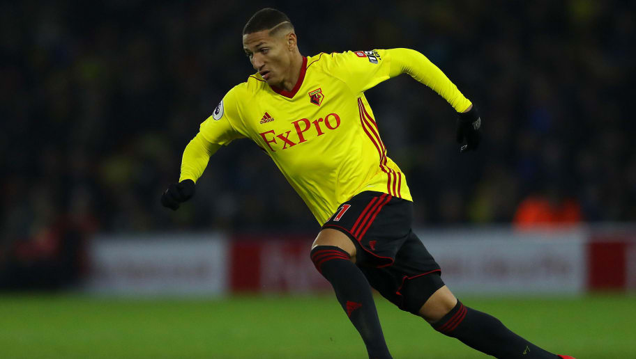 WATFORD, ENGLAND - DECEMBER 02: Richarlison of Watford in action during the Premier League match between Watford and Tottenham Hotspur at Vicarage Road on December 02, 2017 in Watford, England. (Photo by Richard Heathcote/Getty Images)