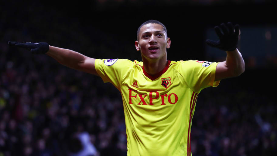 WATFORD, ENGLAND - NOVEMBER 19:  Richarlison de Andrade of Watford celebrates as he scores their second goal during the Premier League match between Watford and West Ham United at Vicarage Road on November 19, 2017 in Watford, England.  (Photo by Clive Rose/Getty Images)