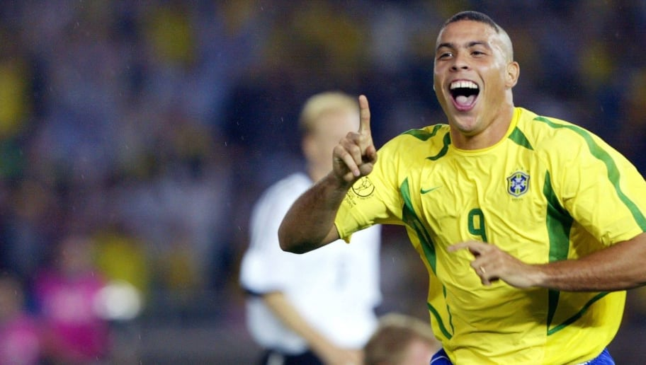 Brazilian forward Ronaldo celebrates after scoring the second Brazilian goal 30 June 2002 during the Germany/Brazil final of the 2002 FIFA World Cup. Brazil won its fifth title beating Germany 2-0. AFP PHOTO PEDRO UGARTE        (Photo credit should read PEDRO UGARTE/AFP/Getty Images)