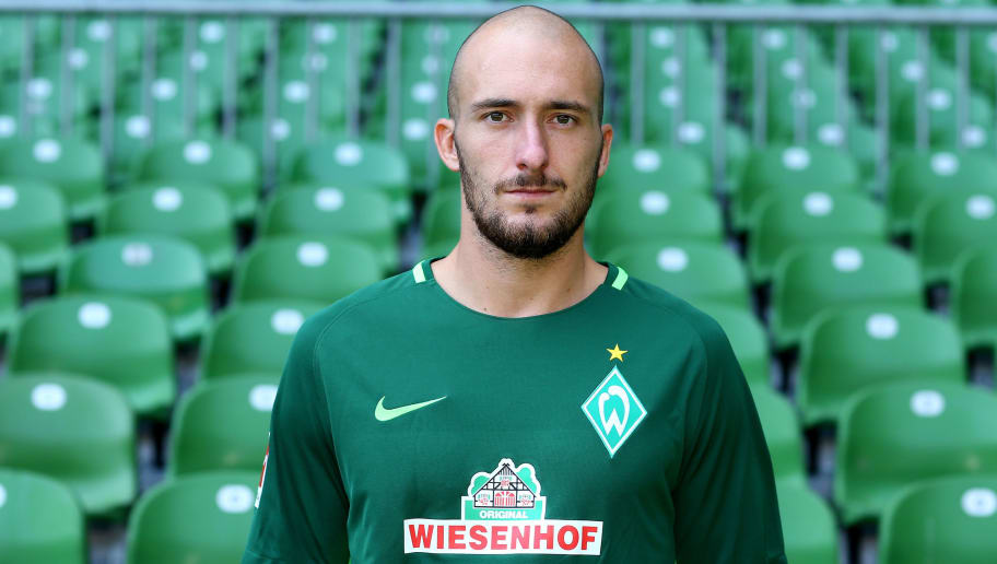BREMEN, GERMANY - JULY 19:  Luca Caldirola of Werder Bremen poses during the team presentation at Weser Stadium on July 19, 2017 in Bremen, Germany.  (Photo by Christof Koepsel/Bongarts/Getty Images)