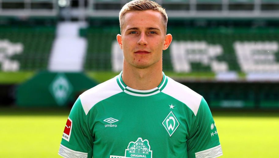 BREMEN, GERMANY - SEPTEMBER 13:  Johannes Eggestein of Werder Bremen poses during the team presentation at Weser Stadion on September 13, 2018 in Bremen, Germany.  (Photo by Martin Rose/Bongarts/Getty Images)