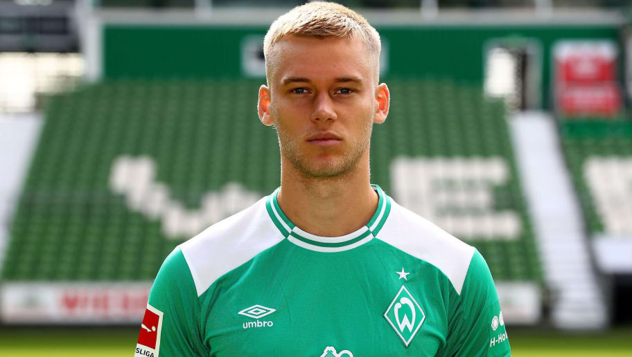 BREMEN, GERMANY - SEPTEMBER 13:  Felix Beijmo of Werder Bremen poses during the team presentation at Weser Stadion on September 13, 2018 in Bremen, Germany.  (Photo by Martin Rose/Bongarts/Getty Images)