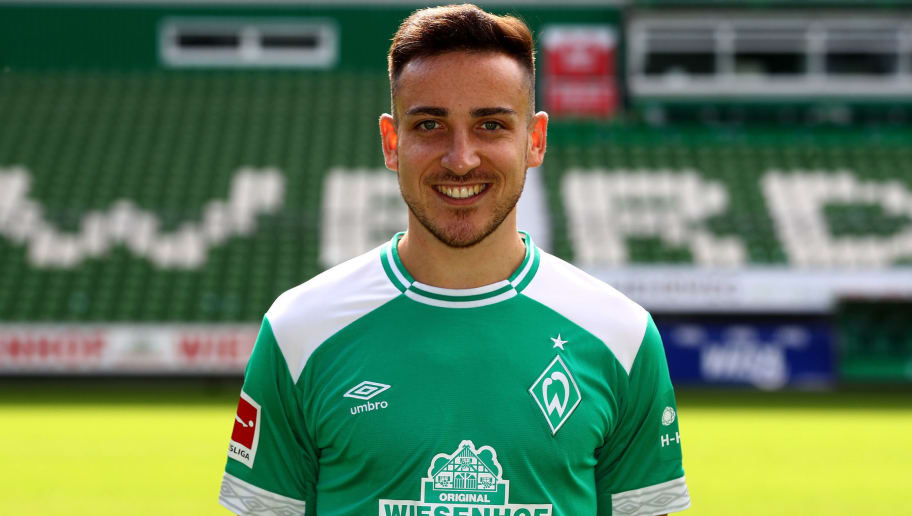 BREMEN, GERMANY - SEPTEMBER 13:  Kevin Moehwald of Werder Bremen poses during the team presentation at Weser Stadion on September 13, 2018 in Bremen, Germany.  (Photo by Martin Rose/Bongarts/Getty Images)