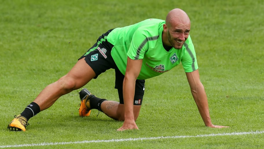 ZELL AM ZILLER, AUSTRIA - JULY 13: Luca Caldirola of Werder Bremen controls the ball during the Training Camp of SV Werder Bremen on July 13, 2017 in Zell am Ziller, Austria. (Photo by TF-Images/TF-Images via Getty Images)