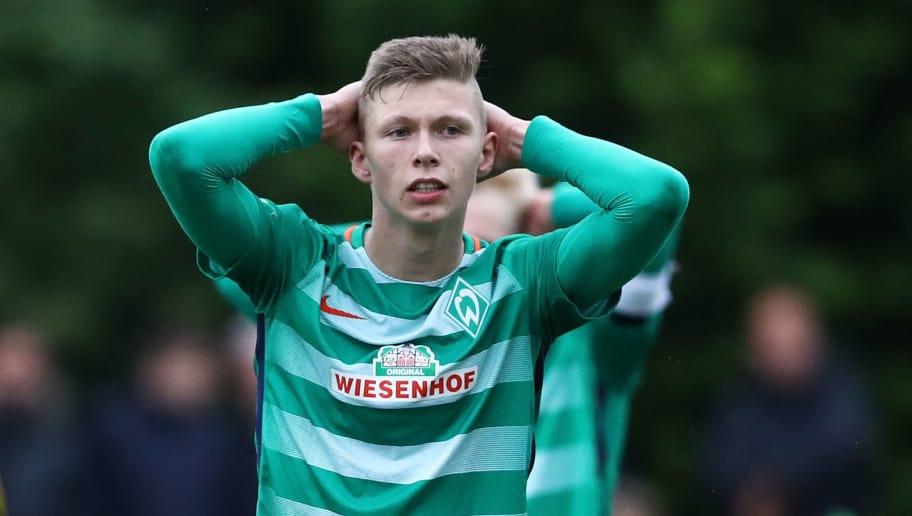 BREMEN, GERMANY - JUNE 07:  Lucky Ihorst of Bremen appears frustrated during B Juniors German Championship Semi Final between Werder Bremen and Borussia Dortmund on June 7, 2017 in Bremen, Germany.  (Photo by Oliver Hardt/Bongarts/Getty Images)