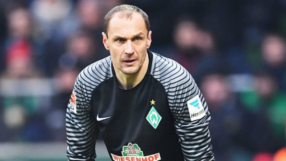 BREMEN, GERMANY - JANUARY 21:  Jaroslav Drobny  of Bremen looks on during the Bundesliga match between Werder Bremen and Borussia Dortmund at Weserstadion on January 21, 2017 in Bremen, Germany.  (Photo by Stuart Franklin/Bongarts/Getty Images)