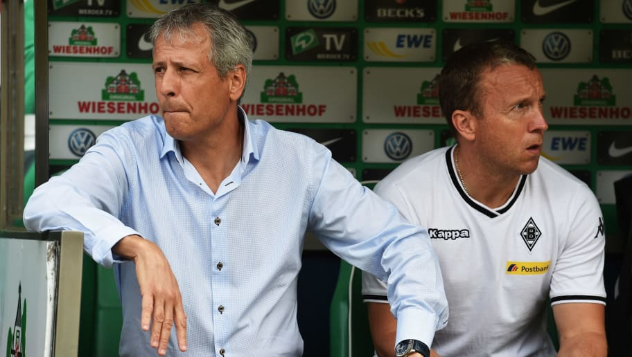 BREMEN, GERMANY - AUGUST 30:  Lucien Favre, head coach of Gladbach looks on during the Bundesliga match between Werder Bremen and Borussia Moenchengladbach at Weserstadion on August 30, 2015 in Bremen, Germany.  (Photo by Stuart Franklin/Bongarts/Getty Images)