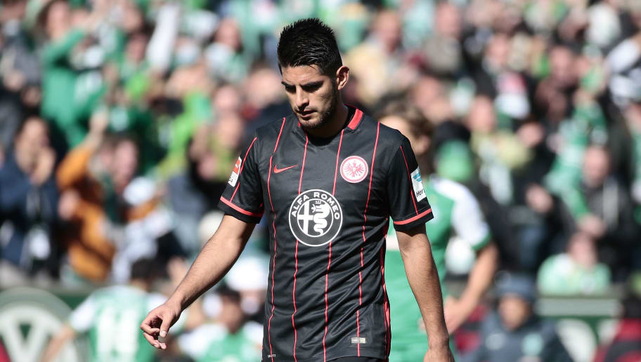 BREMEN, GERMANY - MAY 14: Carlos Zambrano of Frankfurt appears frustrated during the Bundesliga match  SV Werder Bremen and Eintracht Frankfurt at Weserstadion on May 14, 2016 in Bremen, Germany.  (Photo by Oliver Hardt/Bongarts/Getty Images)