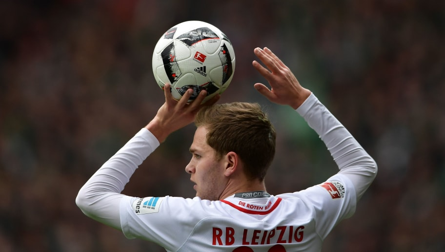 BREMEN, GERMANY - MARCH 18:  Benno Schmitz of Leipzig in action during the Bundesliga match between Werder Bremen and RB Leipzig at Weserstadion on March 18, 2017 in Bremen, Germany.  (Photo by Stuart Franklin/Bongarts/Getty Images)