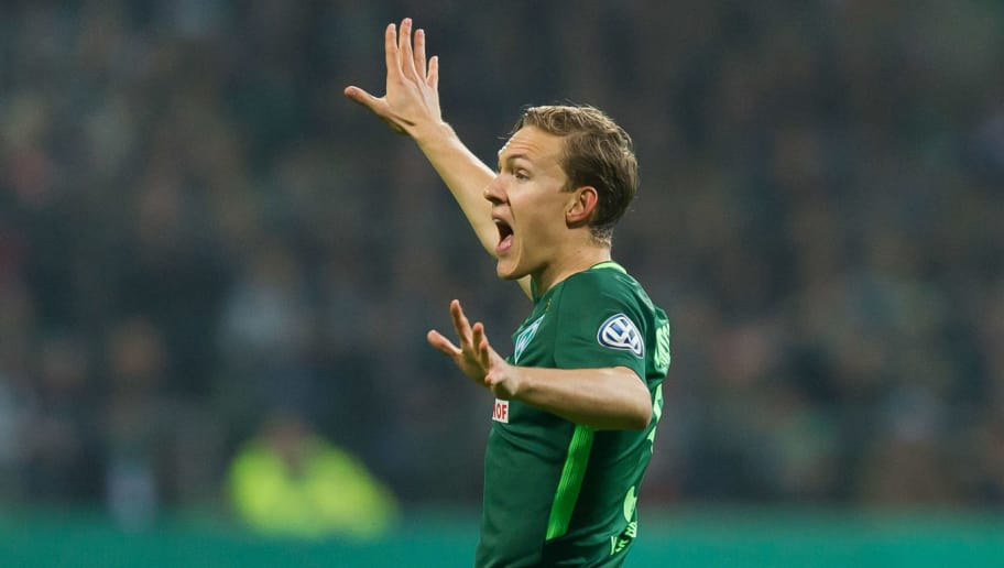 BREMEN, GERMANY - DECEMBER 20: Ludwig Augustinsson of Bremen gestures during the DFB Cup match between Werder Bremen and SC Freiburg at Weserstadion on December 20, 2017 in Bremen, Germany. (Photo by TF-Images/TF-Images via Getty Images)