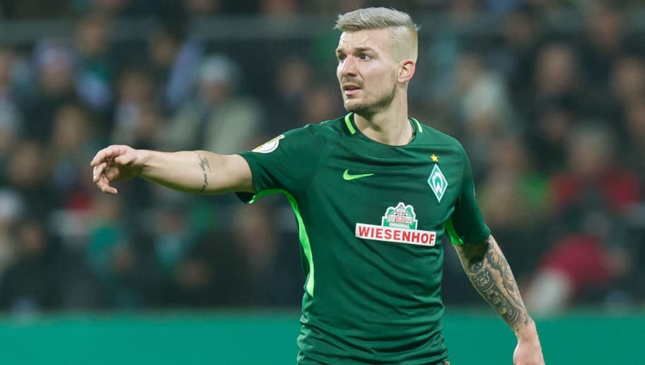 BREMEN, GERMANY - DECEMBER 20: Jerome Gondorf of Bremen gestures during the DFB Cup match between Werder Bremen and SC Freiburg at Weserstadion on December 20, 2017 in Bremen, Germany. (Photo by TF-Images/TF-Images via Getty Images)
