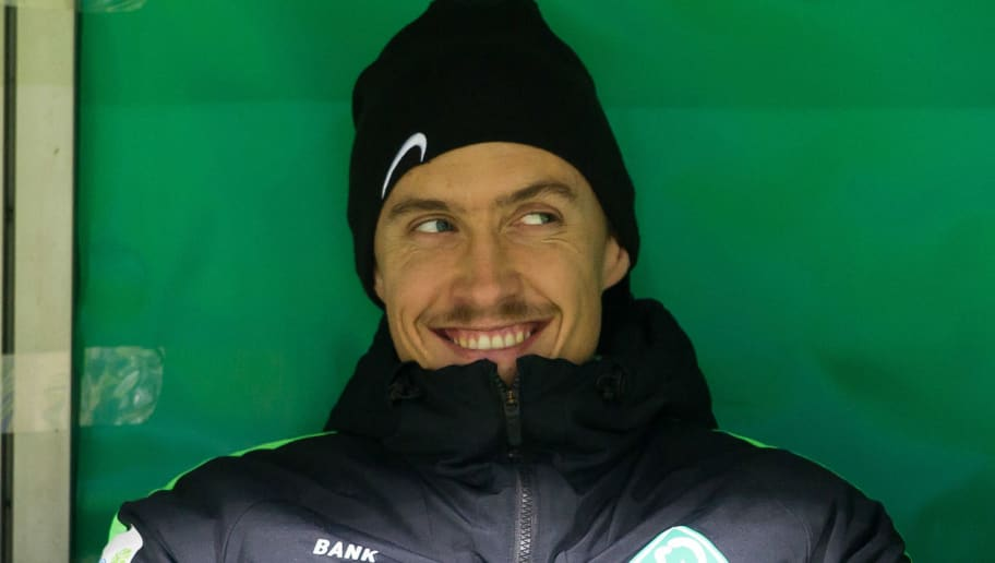 BREMEN, GERMANY - DECEMBER 20: Max Kruse of Bremen looks on prior to the DFB Cup match between Werder Bremen and SC Freiburg at Weserstadion on December 20, 2017 in Bremen, Germany. (Photo by TF-Images/TF-Images via Getty Images)