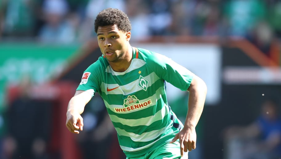 BREMEN, GERMANY - MAY 13:  Serge Gnabry of Bremen in action during the Bundesliga match between Werder Bremen and TSG 1899 Hoffenheim at Weserstadion on May 13, 2017 in Bremen, Germany.  (Photo by Oliver Hardt/Bongarts/Getty Images)