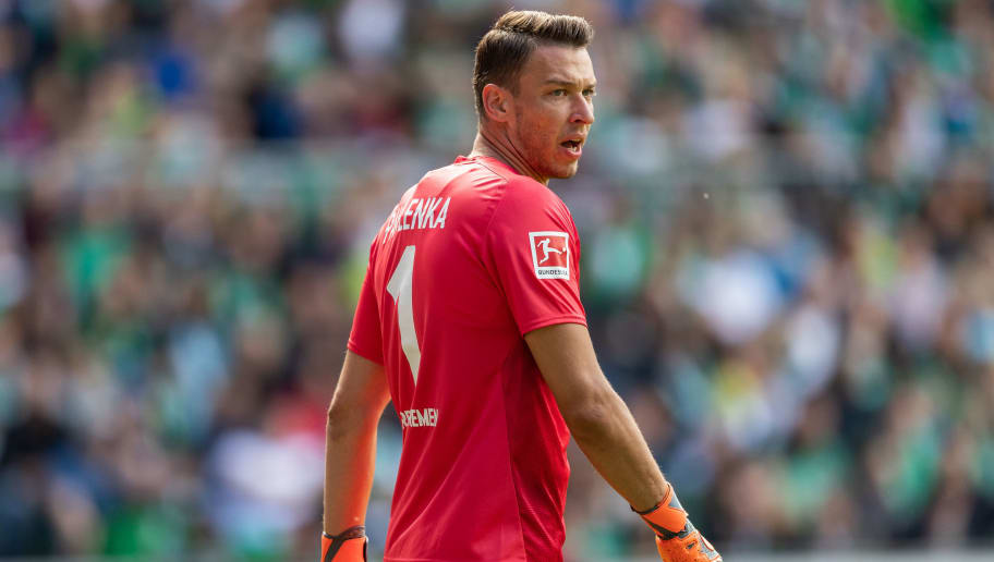 BREMEN, GERMANY - AUGUST 11: Goalkeeper Jiri Pavlenka of SV Werder Bremen reacts during the Pre Season Friendly Match between Werder Bremen and FC Villareal at Weserstadion on August 11, 2018 in Bremen, Germany. (Photo by Boris Streubel/Getty Images)