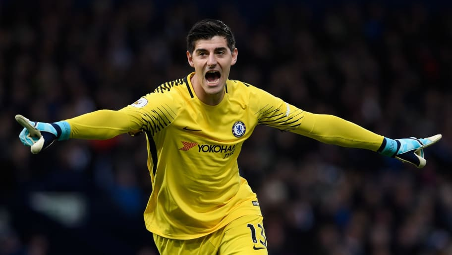 WEST BROMWICH, ENGLAND - NOVEMBER 18:   Thibaut Courtois of Chelsea celebrates his side's second goal during the Premier League match between West Bromwich Albion and Chelsea at The Hawthorns on November 18, 2017 in West Bromwich, England. (Photo by Stu Forster/Getty Images)