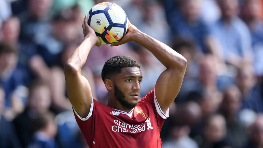 WEST BROMWICH, ENGLAND - APRIL 21:  Joseph Gomez of Liverpool prepares to take a throw-in during the Premier League match between West Bromwich Albion and Liverpool at The Hawthorns on April 21, 2018 in West Bromwich, England.  (Photo by Laurence Griffiths/Getty Images)
