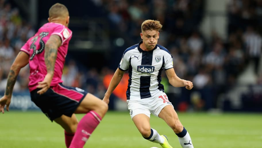WEST BROMWICH, ENGLAND - AUGUST 18:  Harvey Barnes of West Bromwich Albion runs with the ball during the Sky Bet Championship match between West Bromwich Albion and Queens Park Rangers at The Hawthorns on August 18, 2018 in West Bromwich, England.  (Photo by David Rogers/Getty Images)