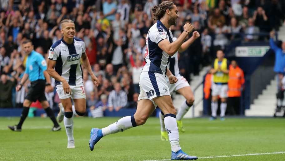 WEST BROMWICH, ENGLAND - AUGUST 18:  Jay Rodriguez of West Bromwich Albion celebrates after scoring their third goal from a penalty during the Sky Bet Championship match between West Bromwich Albion and Queens Park Rangers at The Hawthorns on August 18, 2018 in West Bromwich, England.  (Photo by David Rogers/Getty Images)