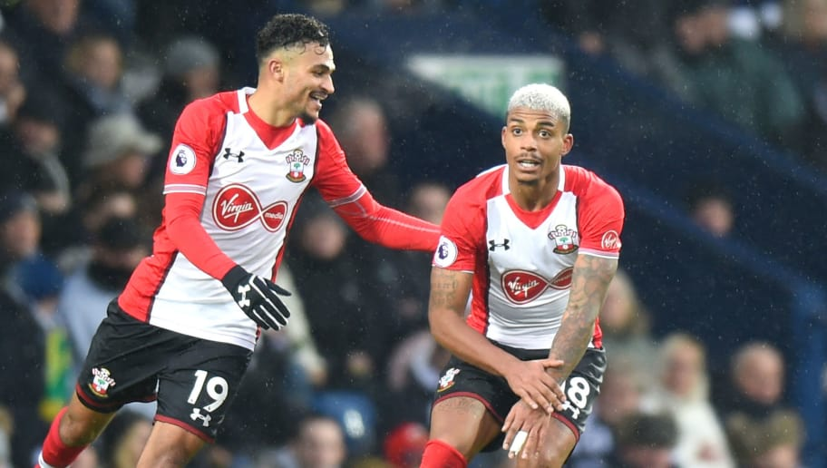WEST BROMWICH, ENGLAND - FEBRUARY 03:  Mario Lemina of Southampton celebrates scoring his side's first goal with Sofiane Boufal during the Premier League match between West Bromwich Albion and Southampton at The Hawthorns on February 3, 2018 in West Bromwich, England.  (Photo by Tony Marshall/Getty Images)