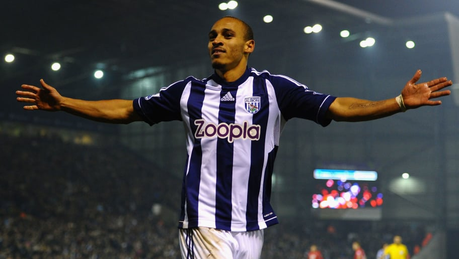 WEST BROMWICH, ENGLAND - NOVEMBER 05:  Peter Odemwingie of West Bromwich Albion celebrates scoring his team's second goal during the Barclays Premier League match between West Bromwich Albion and Southampton at The Hawthorns on November 5, 2012 in West Bromwich, England.  (Photo by Laurence Griffiths/Getty Images)