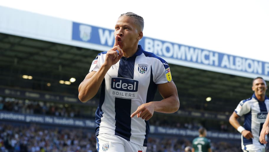 WEST BROMWICH, ENGLAND - SEPTEMBER 01: Dwight Gayle of West Bromwich Albion celebrates scoring during the Sky Bet Championship match between West Bromwich Albion and Stoke City at The Hawthorns on September 1, 2018 in West Bromwich, England. (Photo by Lynne Cameron/Getty Images)