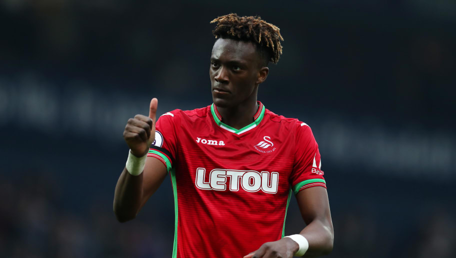 WEST BROMWICH, ENGLAND - APRIL 07:  Tammy Abraham of Swansea City shows appreciation to the fans after the Premier League match between West Bromwich Albion and Swansea City at The Hawthorns on April 7, 2018 in West Bromwich, England.  (Photo by Catherine Ivill/Getty Images)