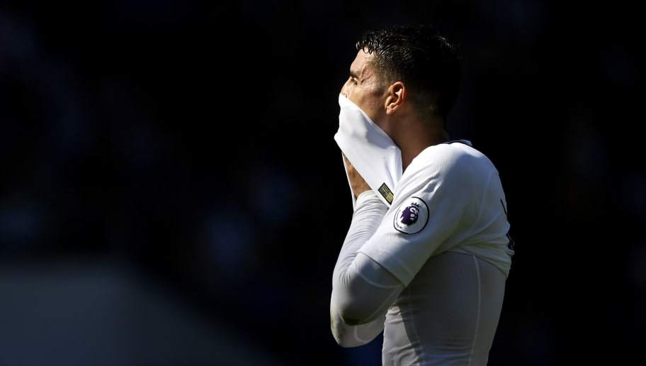 WEST BROMWICH, ENGLAND - MAY 05:  Erik Lamela of Tottensham Hotspur reacts during the Premier League match between West Bromwich Albion and Tottenham Hotspur at The Hawthorns on May 5, 2018 in West Bromwich, England.  (Photo by Stu Forster/Getty Images)