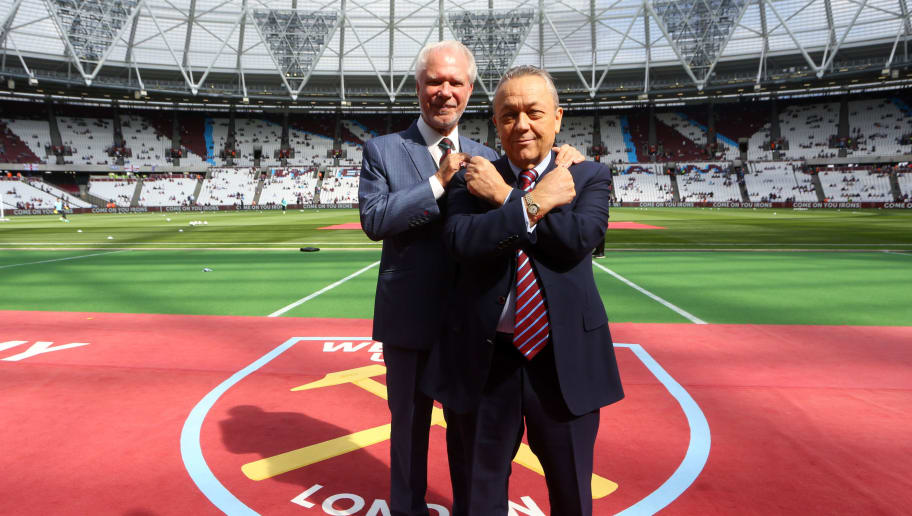 LONDON, ENGLAND - AUGUST 21: Co-owners of West Ham United David Gold and David Sullivan pose for a picture before the Premier League match between West Ham United and AFC Bournemouth at Olympic Stadium on August 21, 2016 in London, England. (Photo by Catherine Ivill - AMA/Getty Images)