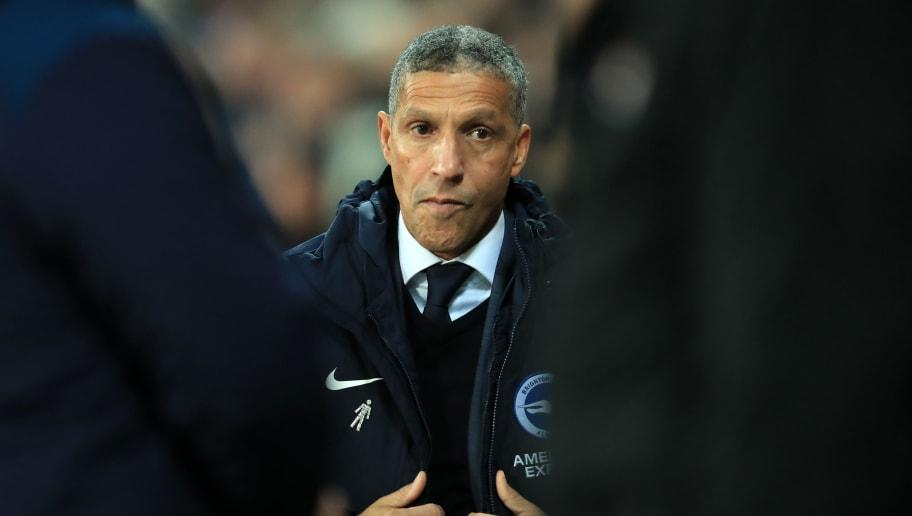 LONDON, ENGLAND - JANUARY 02: Chris Hughton manager of Brighton and Hove Albion during the Premier League match between West Ham United and Brighton & Hove Albion at London Stadium on January 2, 2019 in London, United Kingdom. (Photo by Marc Atkins/Getty Images)