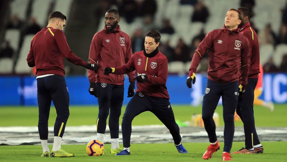 LONDON, ENGLAND - JANUARY 02:  Samir Nasri of West Ham United warms up prior to the Premier League match between West Ham United and Brighton & Hove Albion at London Stadium on January 2, 2019 in London, United Kingdom.  (Photo by Marc Atkins/Getty Images)