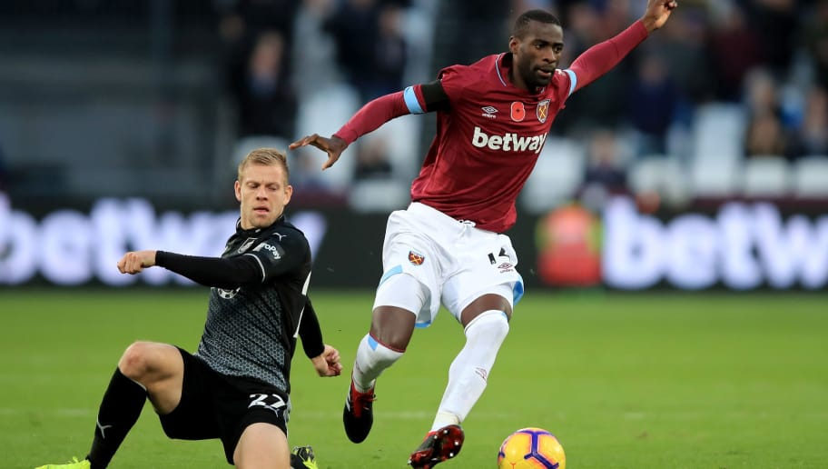 LONDON, ENGLAND - NOVEMBER 03: Pedro Obiang of West Ham United in action with Matej Vydra of Burnley during the Premier League match between West Ham United and Burnley FC at London Stadium on November 3, 2018 in London, United Kingdom. (Photo by Marc Atkins/Getty Images)