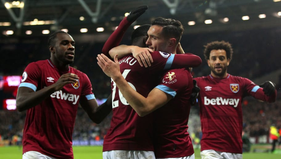 LONDON, ENGLAND - DECEMBER 04, Lukas Perez of West Ham United celebrates scoring his teams second goal during the Premier League match between West Ham United and Cardiff City FC at London Stadium on December 4, 2018 in London, United Kingdom. (Photo by Chloe Knott - Danehouse/Getty Images)