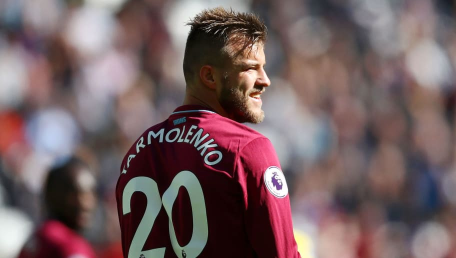 LONDON, ENGLAND - SEPTEMBER 23:  Andriy Yarmolenko of West Ham United looks on during the Premier League match between West Ham United and Chelsea FC at London Stadium on September 23, 2018 in London, United Kingdom.  (Photo by Dean Mouhtaropoulos/Getty Images)