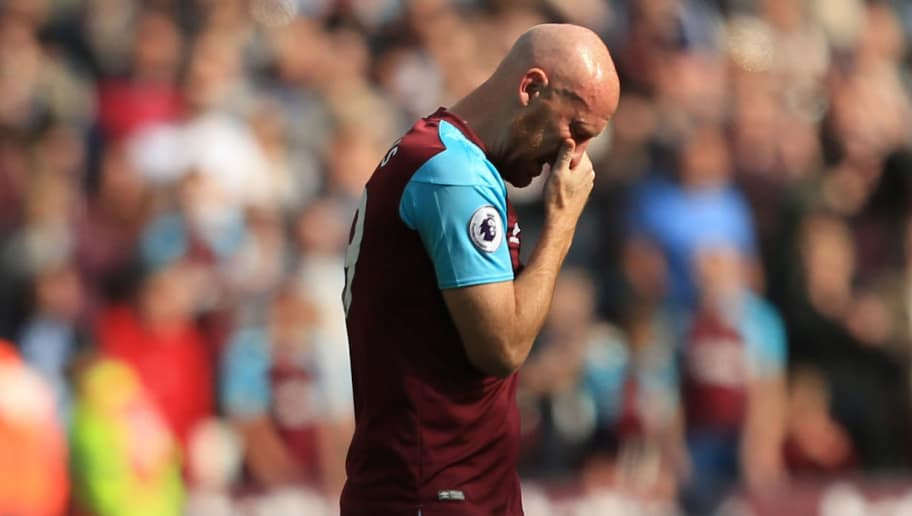 LONDON, ENGLAND - MAY 13:  James Collins of West Ham United shows his emotions following the Premier League match between West Ham United and Everton at London Stadium on May 13, 2018 in London, England.  (Photo by Stephen Pond/Getty Images)