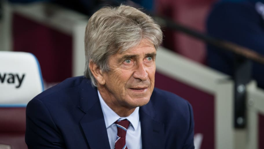 LONDON, ENGLAND - SEPTEMBER 26: West Ham United manager Manuel Pellegrini during the Carabao Cup Third Round match between West Ham United and Macclesfield Town at The London Stadium on September 26, 2018 in London, England. (Photo by Craig Mercer/MB Media/Getty Images)