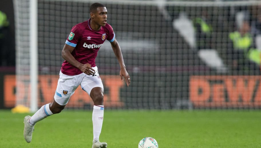 LONDON, ENGLAND - SEPTEMBER 26: Issa Diop of West Ham United in action during the Carabao Cup Third Round match between West Ham United and Macclesfield Town at The London Stadium on September 26, 2018 in London, England. (Photo by Craig Mercer/MB Media/Getty Images)