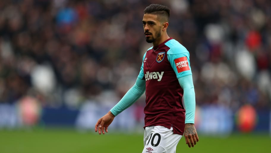 LONDON, ENGLAND - APRIL 29: Manuel Lanzini of West Ham United during the Premier League match between West Ham United and Manchester City at London Stadium on April 29, 2018 in London, England. (Photo by Catherine Ivill/Getty Images)