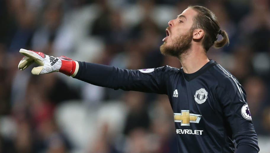 LONDON, ENGLAND - MAY 10:  David De Gea of Manchester United reacts during the Premier League match between West Ham United and Manchester United at London Stadium on May 10, 2018 in London, England.  (Photo by Steve Bardens/Getty Images)