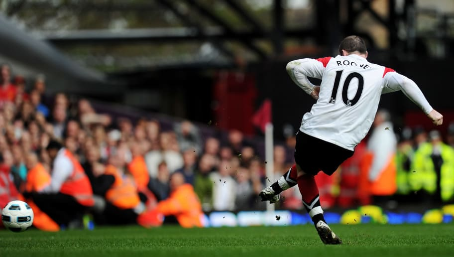 LONDON, ENGLAND - APRIL 02:  Wayne Rooney of Manchester United scores his hat trick goal from the penalty spot during the Barclays Premier League match between West Ham United and Manchester United at the Boleyn Ground on April 2, 2011 in London, England.  (Photo by Mike Hewitt/Getty Images)