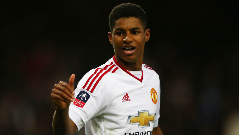 LONDON, ENGLAND - APRIL 13:  Marcus Rashford of Manchester United celebrates scoring the opening goal during The Emirates FA Cup, sixth round replay between West Ham United and Manchester United at the Boleyn Ground on April 13, 2016 in London, England.  (Photo by Ian Walton/Getty Images)