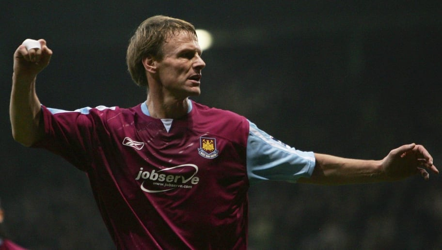 LONDON - DECEMBER 26:  Teddy Sheringham of West Ham United celebrates scoring during the Barclays Premiership match between West Ham United and Portsmouth at Upton Park on December 26, 2006 in London, England.  (Photo by Phil Cole/Getty Images)