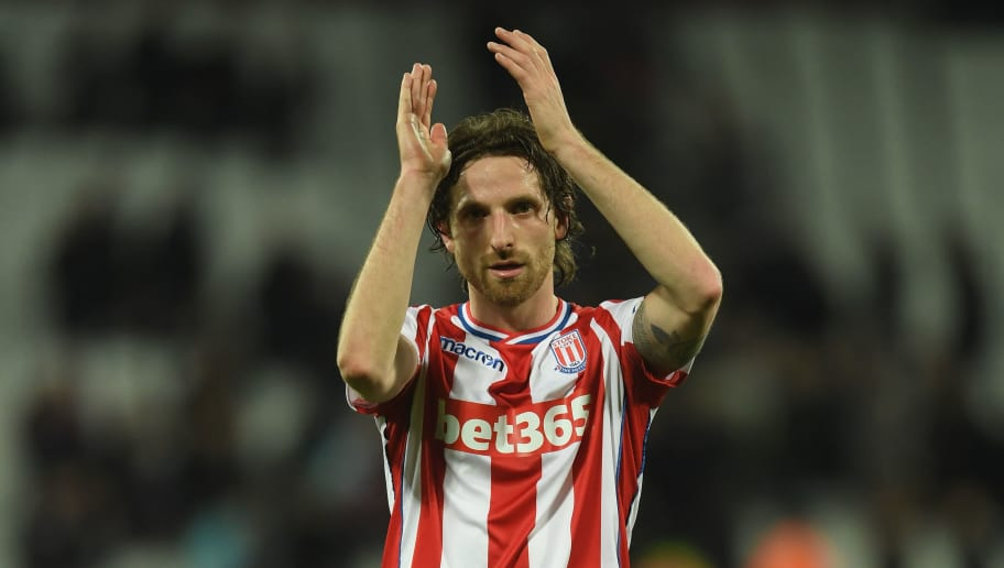 LONDON, ENGLAND - APRIL 16:  Joe Allen of Stoke City acknowledges the fans after the Premier League match between West Ham United and Stoke City at London Stadium on April 16, 2018 in London, England.  (Photo by Mike Hewitt/Getty Images)