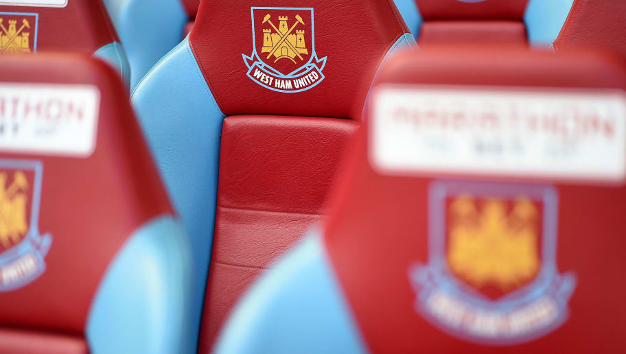LONDON, ENGLAND - APRIL 11: West Ham United logo is pictured prior to the Barclays Premier League match between West Ham United and Stoke City at Boleyn Ground on April 11, 2015 in London, England. (Photo by Tom Dulat/Getty Images)