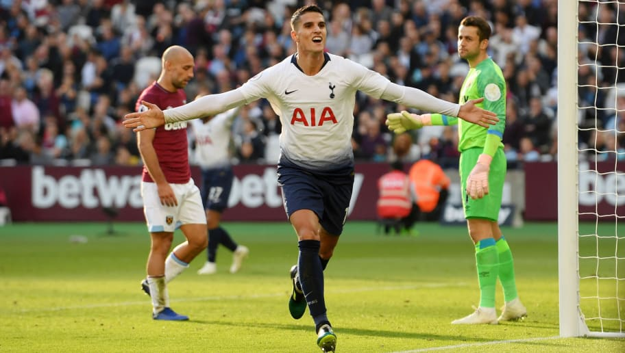 LONDON, ENGLAND - OCTOBER 20: Erik Lamela of Tottenham Hotspur celebrates after scoring his team's first goal during the Premier League match between West Ham United and Tottenham Hotspur at London Stadium on October 20, 2018 in London, United Kingdom.  (Photo by Mike Hewitt/Getty Images)