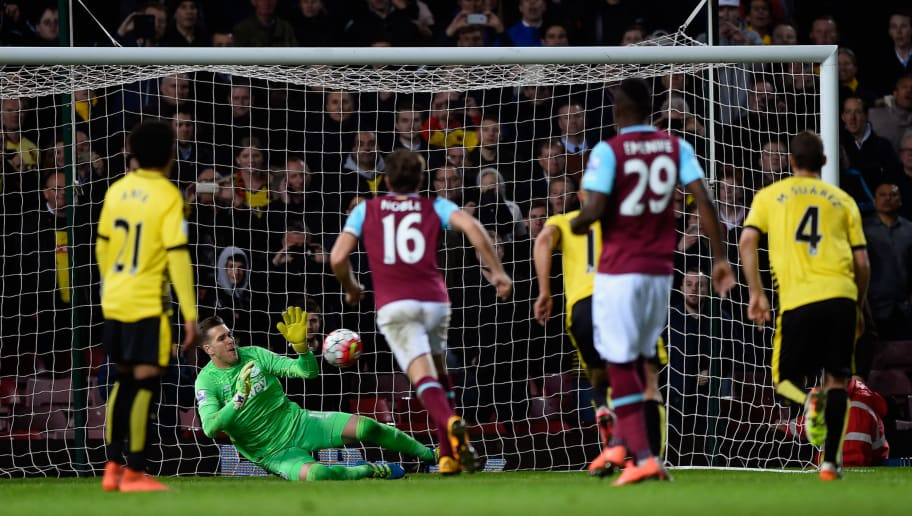 LONDON, ENGLAND - APRIL 20:  Adrian of West Ham United saves a penalty from Troy Deeney of Watford  during the Barclays Premier League match between West Ham United and Watford at the Boleyn Ground, April 20, 2016, London, England  (Photo by Mike Hewitt/Getty Images)