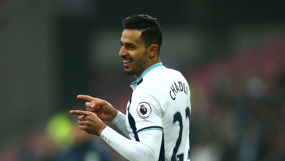 STRATFORD, ENGLAND - FEBRUARY 11:  Nacer Chadli of West Bromwich Albion celebrates scoring the opening goal during the Premier League match between West Ham United and West Bromwich Albion at London Stadium on February 11, 2017 in Stratford, England.  (Photo by Jordan Mansfield/Getty Images)