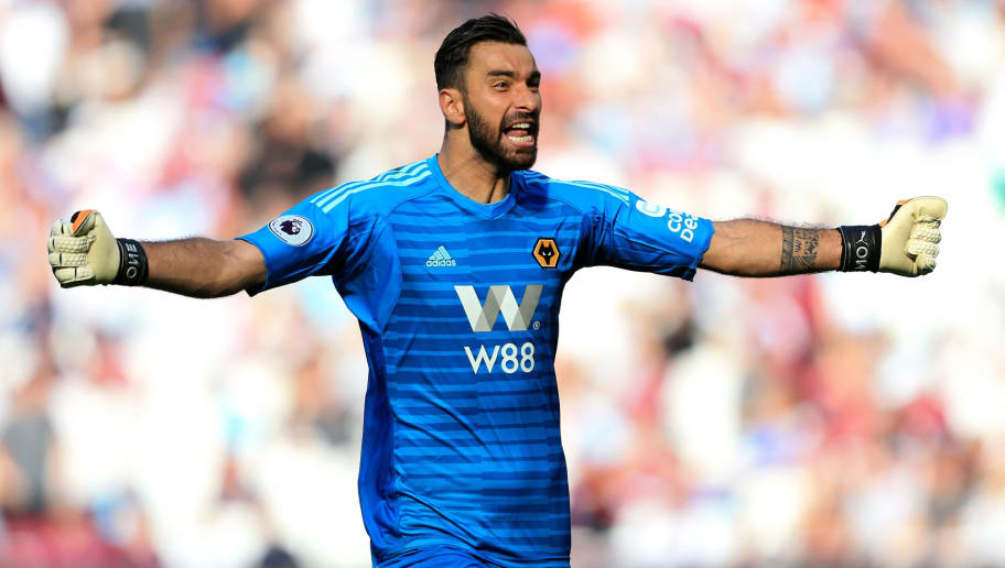 LONDON, ENGLAND - SEPTEMBER 01:  Rui Patricio of Wolverhampton Wanderers celebrates after teammate Adama Traore scores their team's first goal during the Premier League match between West Ham United and Wolverhampton Wanderers at London Stadium on September 1, 2018 in London, United Kingdom.  (Photo by Stephen Pond/Getty Images)