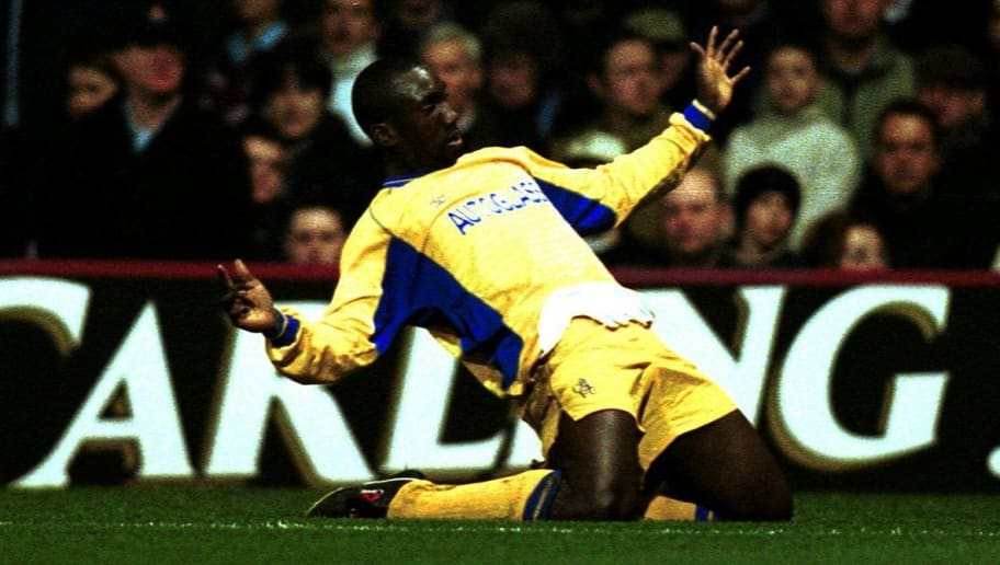 7 Mar 2001:  Jimmy Floyd Hasselbaink of Chelsea celebrates after scoring the second goal during the FA Carling Premiership match between West Ham and Chelsea played at Upton Park, London. Mandatory Credit: Clive Brunskill/ALLSPORT