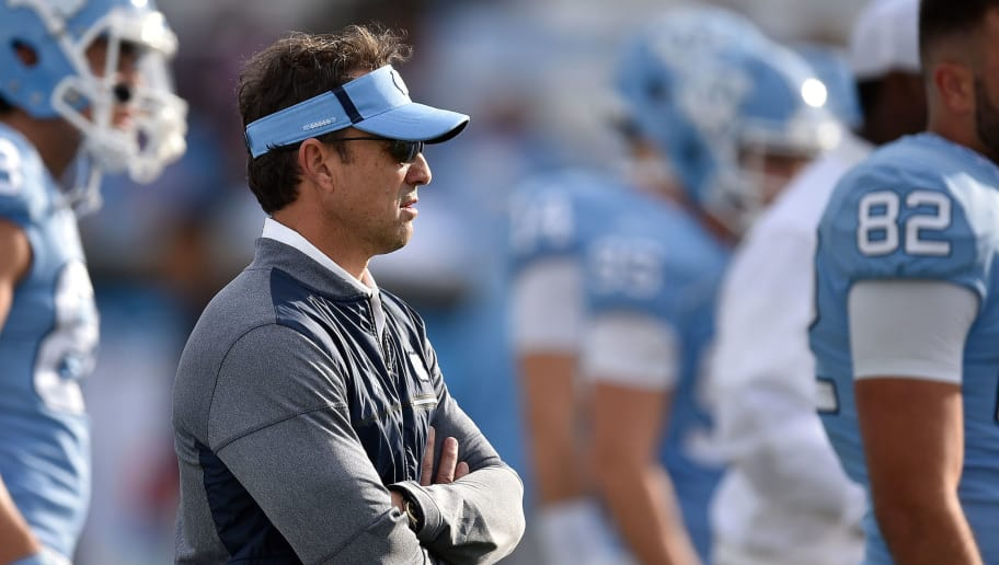 CHAPEL HILL, NC - NOVEMBER 18: Head coach Larry Fedora of the North Carolina Tar Heels looks on during warm-ups prior to their game against the Western Carolina Catamounts at Kenan Stadium on November 18, 2017 in Chapel Hill, North Carolina. UNC won 65-10. (Photo by Lance King/Getty Images)